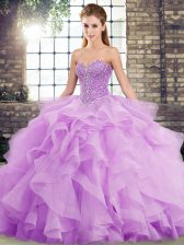 Fantastic Sleeveless Brush Train Beading and Ruffles Lace Up Sweet 16 Dress