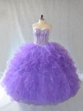 Lavender Sleeveless Tulle Lace Up Quinceanera Dresses for Sweet 16 and Quinceanera