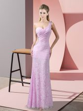 Discount Lilac Sleeveless Floor Length Beading and Lace Criss Cross Evening Dress