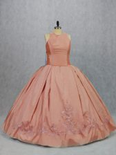 Floor Length Ball Gowns Sleeveless Peach Vestidos de Quinceanera Zipper