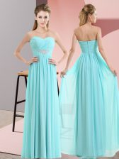 Baby Blue Empire Beading Prom Dresses Zipper Chiffon Sleeveless Floor Length