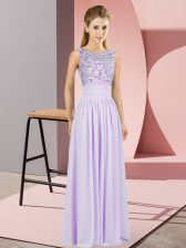 Hot Sale Empire Prom Gown Lavender Scoop Chiffon Sleeveless Backless