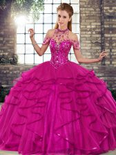 Unique Fuchsia Ball Gowns Tulle Halter Top Sleeveless Beading and Ruffles Floor Length Lace Up 15 Quinceanera Dress