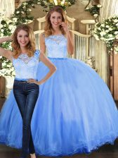 Scoop Sleeveless Clasp Handle Quinceanera Dresses Blue Tulle