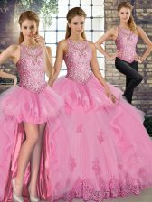 Adorable Rose Pink Tulle Lace Up Quinceanera Gown Sleeveless Floor Length Lace and Embroidery and Ruffles