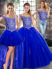 Excellent Off The Shoulder Sleeveless Sweet 16 Dresses Floor Length Beading Royal Blue Tulle