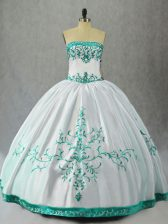 Attractive Floor Length Ball Gowns Sleeveless White Sweet 16 Quinceanera Dress Lace Up