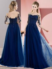 Chiffon Half Sleeves Floor Length Dama Dress for Quinceanera and Beading and Lace