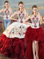 Dazzling Floor Length Lace Up Quinceanera Dresses White And Red for Sweet 16 and Quinceanera with Embroidery and Ruffles