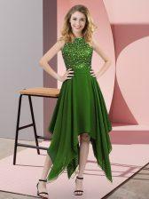 Green Empire Chiffon High-neck Sleeveless Beading and Sequins Asymmetrical Zipper Prom Dress