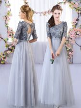 Spectacular Floor Length Grey Quinceanera Dama Dress Tulle Half Sleeves Appliques
