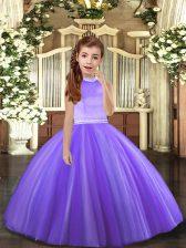 Graceful Tulle Halter Top Sleeveless Backless Beading Little Girls Pageant Dress in Lavender