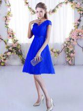 V-neck Cap Sleeves Lace Up Dama Dress Royal Blue Lace