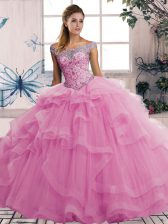 Amazing Sleeveless Floor Length Beading and Ruffles Lace Up Sweet 16 Quinceanera Dress with Rose Pink