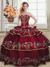 Popular Wine Red Sleeveless Organza Lace Up Quince Ball Gowns for Sweet 16 and Quinceanera