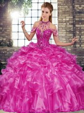 Sumptuous Sleeveless Floor Length Beading and Ruffles Lace Up Quinceanera Dress with Fuchsia