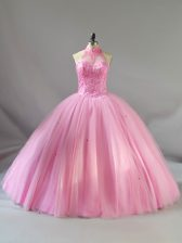 Baby Pink Sleeveless Floor Length Beading Lace Up Ball Gown Prom Dress