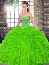 Beading and Ruffles Quinceanera Gowns Lace Up Sleeveless Floor Length