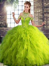 Beading and Ruffles Quinceanera Dress Olive Green Lace Up Sleeveless Floor Length