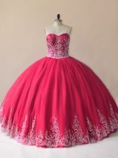 Edgy Tulle Sleeveless Floor Length 15th Birthday Dress and Embroidery