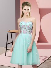 Captivating Tulle Sweetheart Sleeveless Lace Up Appliques Dama Dress for Quinceanera in Apple Green