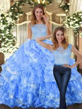 Ideal Lace and Ruffled Layers Sweet 16 Dress Light Blue Zipper Sleeveless Floor Length
