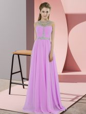 Clearance Lilac Scoop Neckline Beading Prom Party Dress Sleeveless Zipper