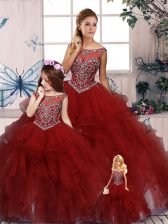 Ball Gowns Quince Ball Gowns Burgundy Scoop Organza Sleeveless Floor Length Zipper