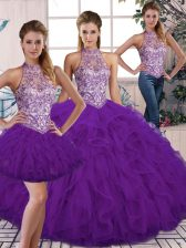 Vintage Purple Quinceanera Dress Military Ball and Sweet 16 and Quinceanera with Beading and Ruffles Halter Top Sleeveless Lace Up