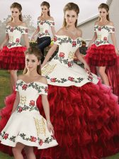 Colorful Floor Length Wine Red Sweet 16 Dress Organza Sleeveless Embroidery and Ruffled Layers