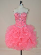 Extravagant Pink Sweetheart Zipper Beading and Ruffles Prom Gown Sleeveless