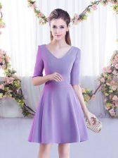 Gorgeous V-neck Half Sleeves Zipper Dama Dress Lavender Chiffon