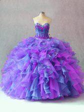 Fashion Multi-color Organza Lace Up Quinceanera Dresses Sleeveless Floor Length Beading and Appliques and Ruffles