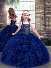 Sleeveless Floor Length Beading and Ruffles Lace Up Pageant Dress with Blue