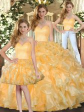 Gold Lace Up Sweet 16 Quinceanera Dress Beading and Ruffles Sleeveless Floor Length