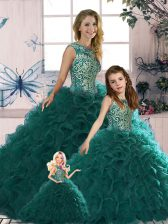 Sleeveless Organza Floor Length Lace Up Sweet 16 Dresses in Peacock Green with Beading and Ruffles