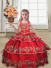 Sleeveless Floor Length Embroidery and Ruffled Layers Lace Up Little Girls Pageant Dress with Red