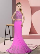 Elegant Lilac Zipper High-neck Beading and Appliques Prom Dresses Satin Sleeveless Sweep Train