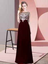 Scoop Sleeveless Backless Prom Dress Burgundy Chiffon