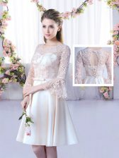 Extravagant Champagne A-line Lace and Belt Dama Dress for Quinceanera Lace Up Satin 3 4 Length Sleeve Mini Length