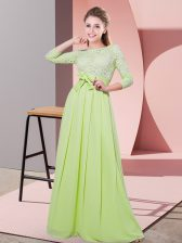 Hot Selling Yellow Green Side Zipper Quinceanera Dama Dress Lace and Belt 3 4 Length Sleeve Floor Length