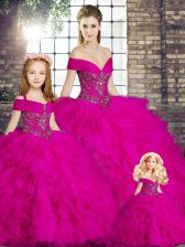 Tulle Off The Shoulder Sleeveless Lace Up Beading and Ruffles 15 Quinceanera Dress in Fuchsia