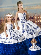 Organza Sweetheart Sleeveless Lace Up Embroidery and Ruffles Sweet 16 Dresses in Blue And White