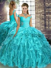 Fine Brush Train Ball Gowns 15th Birthday Dress Aqua Blue Off The Shoulder Organza Sleeveless Lace Up
