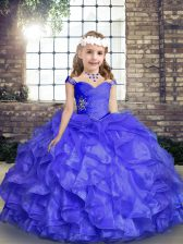 Elegant Floor Length Blue Little Girls Pageant Gowns Straps Sleeveless Lace Up