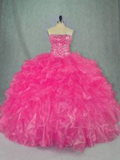 Exceptional Hot Pink Lace Up Strapless Beading and Ruffles 15 Quinceanera Dress Organza Sleeveless