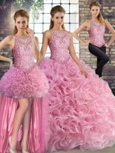 Comfortable Floor Length Three Pieces Sleeveless Rose Pink Vestidos de Quinceanera Lace Up
