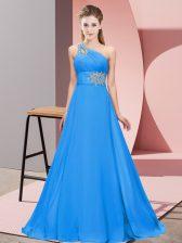 One Shoulder Sleeveless Dress for Prom Floor Length Beading Blue Chiffon