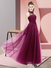 Dynamic Fuchsia Sleeveless Tulle Lace Up Quinceanera Dama Dress for Wedding Party
