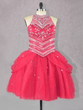 Wonderful Coral Red Lace Up Prom Party Dress Beading Sleeveless Mini Length